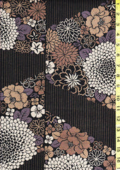 Japanese - Kobayashi Dobby Weave - Compact Mums & Floral Clusters - Taupe, Tan & Charcoal