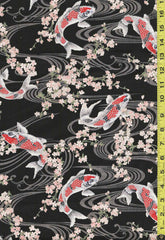Asian - Koi, Waterfall & Bamboo - Black- Last 2 yards