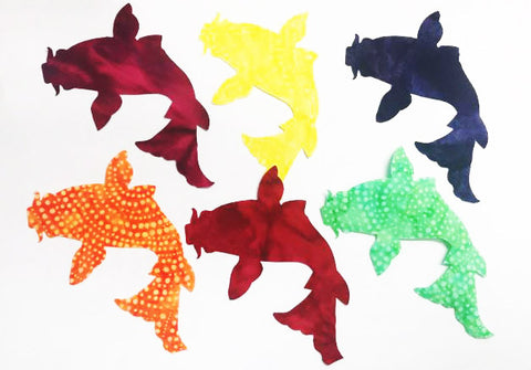 Fabric Fun Shapes - Colorful Koi - Bright Batiks