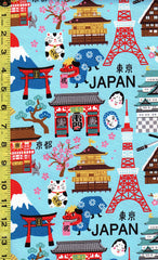 Japanese Novelty - Kokka Hello Japan - Oxford Cloth - Bright Blue