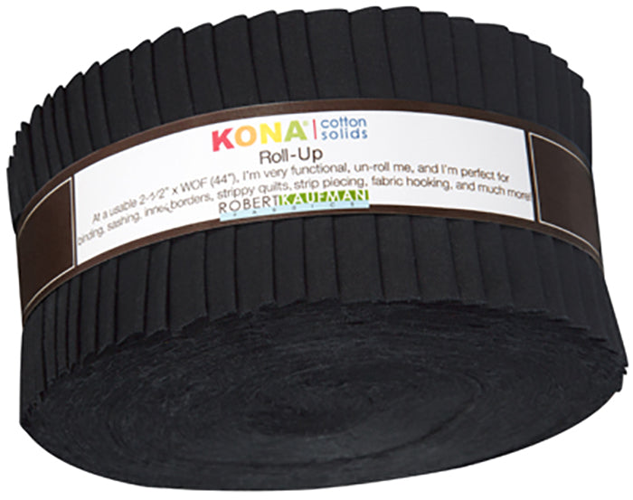 "Roll-Up - KONA COTTON - BLACK - Pre-cut 2 1/2"" Strips (40)"