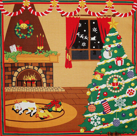 Furoshiki  - Sleeping Tama Cat & Christmas Tree
