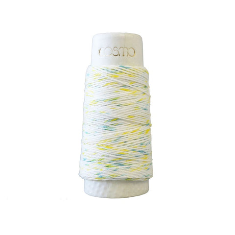 Sashiko Thread - Hidamari - LEN89-104 - Speckle: Variegated - SHAVED ICE - YELLOW, BLUE-GREEN