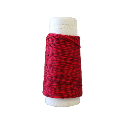 Sashiko Thread - Hidamari - LEN89-401 - Variegated - CRANBERRY RED