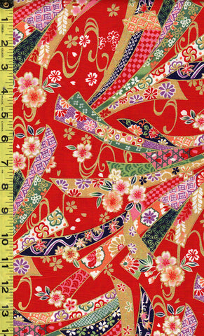 *Japanese  - Kokka Princess Heart - Colorful Floral Noshi Ribbons - LGA-21000-1A21-Red