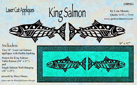 Quilt Pattern & Laser Cut Applique - King Salmon Pair # 13091 - Left & Right