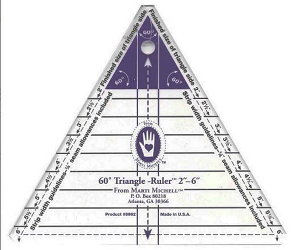 "Rulers & Templates - Marti Michell - Small 60 Degree Triangle - 2"" - 6"""
