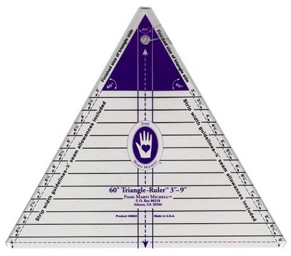 "Rulers & Templates - Marti Michell - Large 60 Degree Triangle - 3"" - 9"" - # 8963"