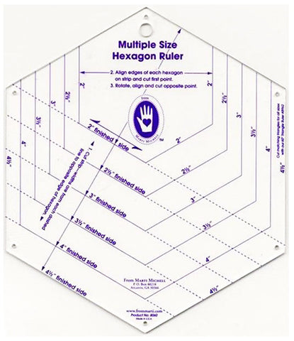 Template & Quilt Pattern - Marti Michell - Hexagon Ruler # 8060