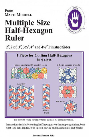 Template & Quilt Pattern - Marti Michell -  Multiple Size Half-Hexagon Template # 8282