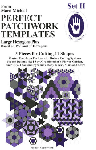 Template & Quilt Pattern - Marti Michell - Perfect Patchwork Templates - Large Hexagons - Set H - #8951