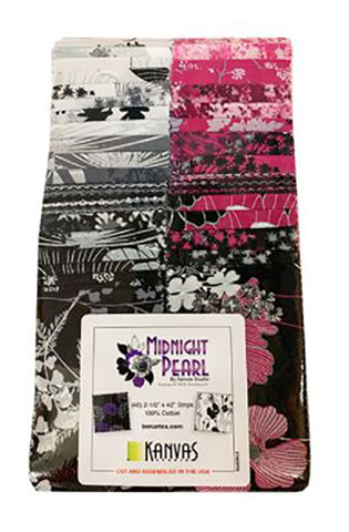 Pre-Cut Strips - Midnight Pearl Florals - 2 1/2