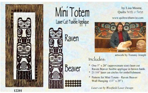 Quilt Pattern & Laser Cut Applique - Mini Totem - Raven Beaver # 12201