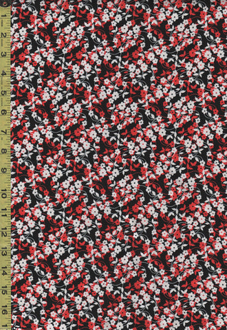 *SALE - Floral Fabric - Poppy Prominade - Mini Flower Dance - 7984P-10 - Red, Black & White