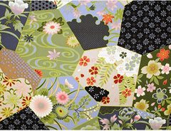 *Asian - Floral Hexagons - Grey, Black & Olive Green