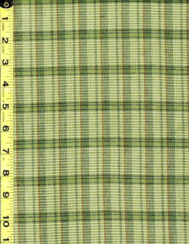 Woven Cotton - Nikko - Plaid - Shades of Green with Tiny Dark Gold Stripe - # 3822
