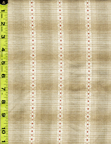 Woven Cotton - Nikko - Floral Columns & Plaid - Beige, Ivory, Light Grey - # 3835 - ON SALE