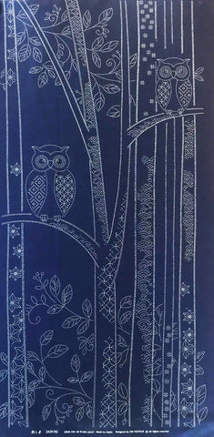 Sashiko Pre-printed Panel - Forest Owls - Dark Navy