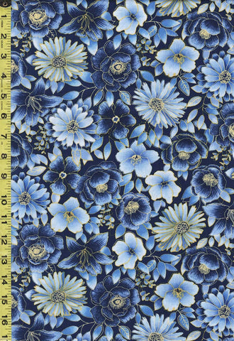 *Floral Fabric - Oasis Midnight Garden - Compact Floral Garden - 60-29001 - Blues