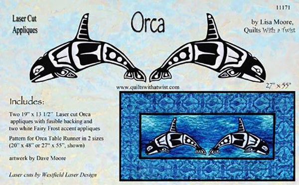 Quilt Pattern & Laser Cut Applique - Large Orca # 11171