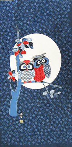Noren Panel - Two Wide-Eyed Owls in Tree & Large Full Moon # 92