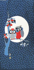 Noren Panel - Two Owls in Tree & Large Full Moon # 92