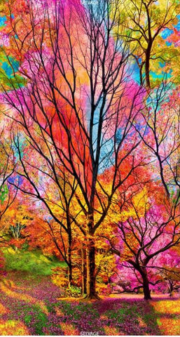 *PANEL - Electric Trees - Bright Multi-Colors
