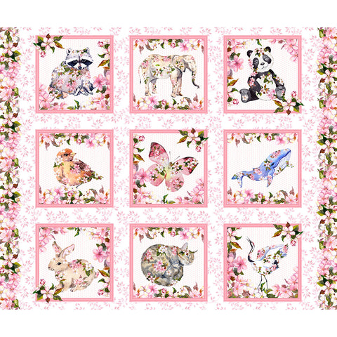 Floral Fabric - Pretty in Pink - Cherry Blossom & Animal PANEL