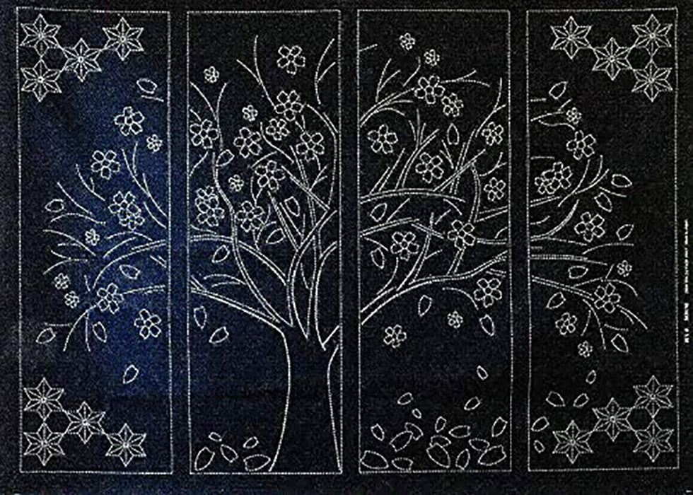 Sashiko Pre-printed Panel - Cherry Blossom Tree - Large 4 part panel - Navy