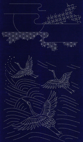 Sashiko Pre-printed Panel - Cranes in Flight - Dark Navy