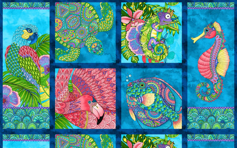 *Tropical-Novelty - Paradise Falls - Large Scale Fish, Birds, Turtles & Seahorse - PANEL
