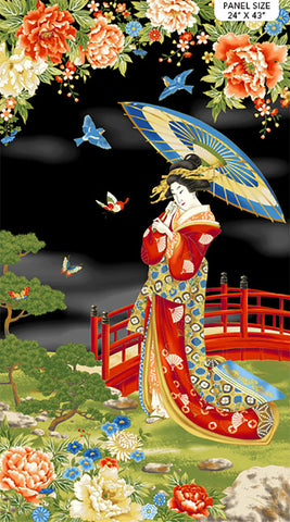 *Asian - Kyoto Garden - Geisha in Floral Garden - PANEL