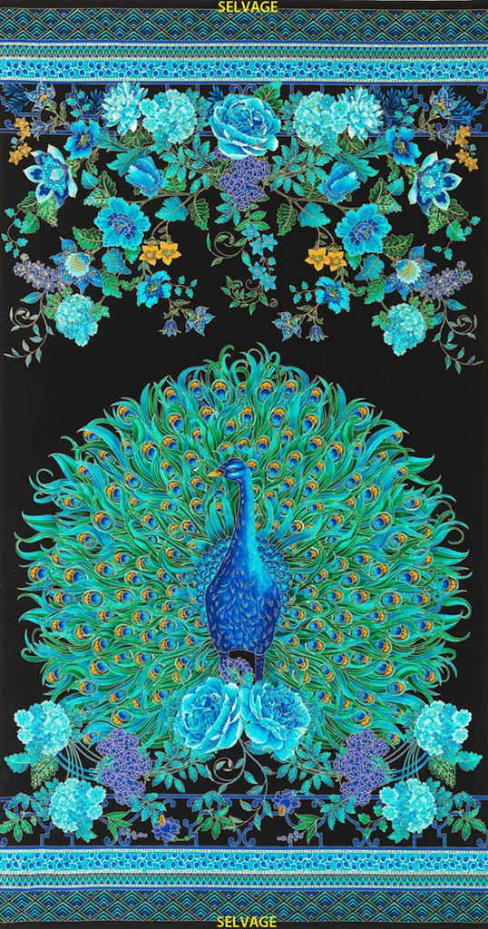 *Asian - Enchanted Plume Peacock & Floral Garden - PANEL - Brilliant Blue