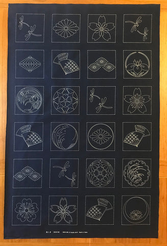 Sashiko Pre-printed Panel - Japanese Crests, Fans & Dragonflies - Dark Navy