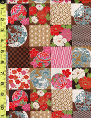 Asian Novelty - Temari Balls & Floral Checkerboard Patchwork - Brown & Pink