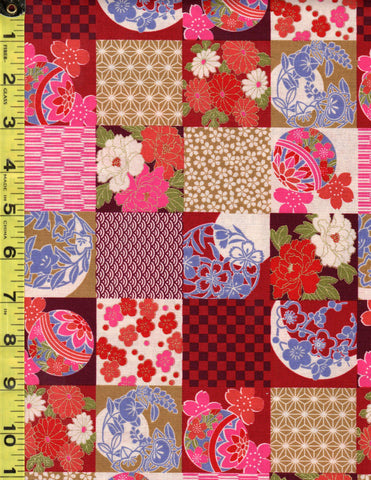Asian Novelty - Temari Balls & Floral Checkerboard Patchwork - Pink & Red