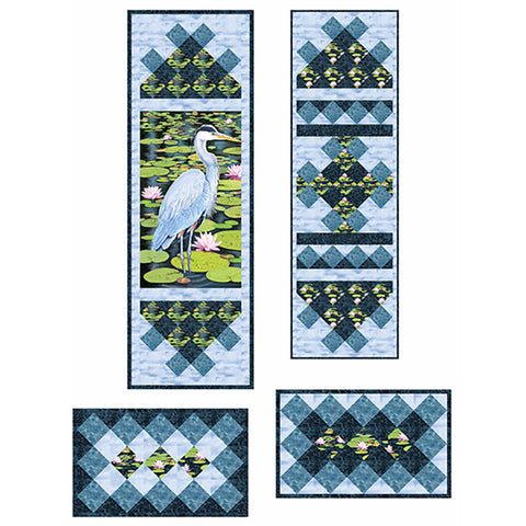 Quilt Pattern & Table Runner - Blue Heron Tupper Lake Wall Hanging & Table Set