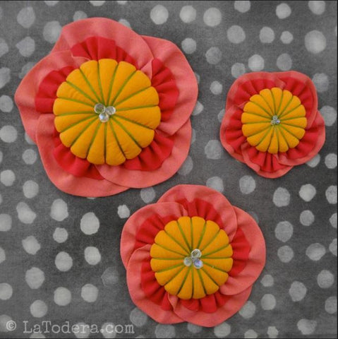 Pattern - Just for Fun - Japanese Fabric Peach Flower Brooch - ON SALE
