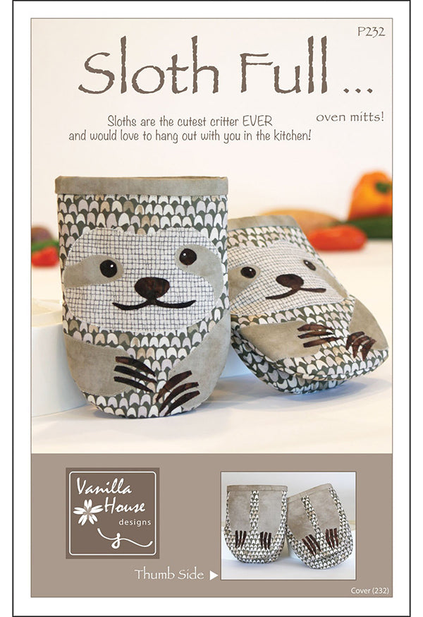 Pot Holder Pattern - Vanilla House Designs - Sloth Full Oven Mitts