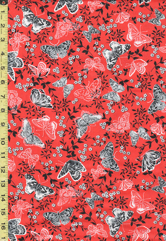 *SALE - Floral Fabric - Poppy Prominade - Butterflies & Floral Branches - 7981P-10 - Bright Orangish-Red