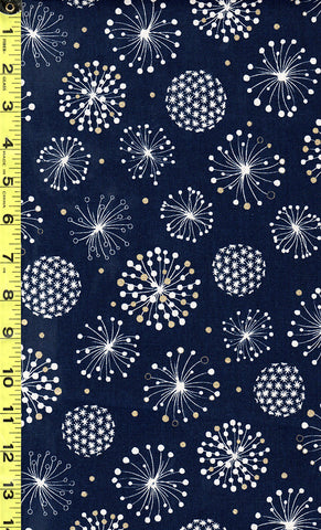 Japanese - Cosmos Floating Puff Blossoms - Cotton-Linen - Navy