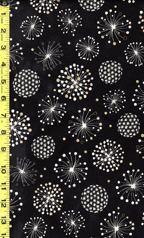 Japanese - Cosmos Floating Puff Blossoms - Cotton-Linen - Black