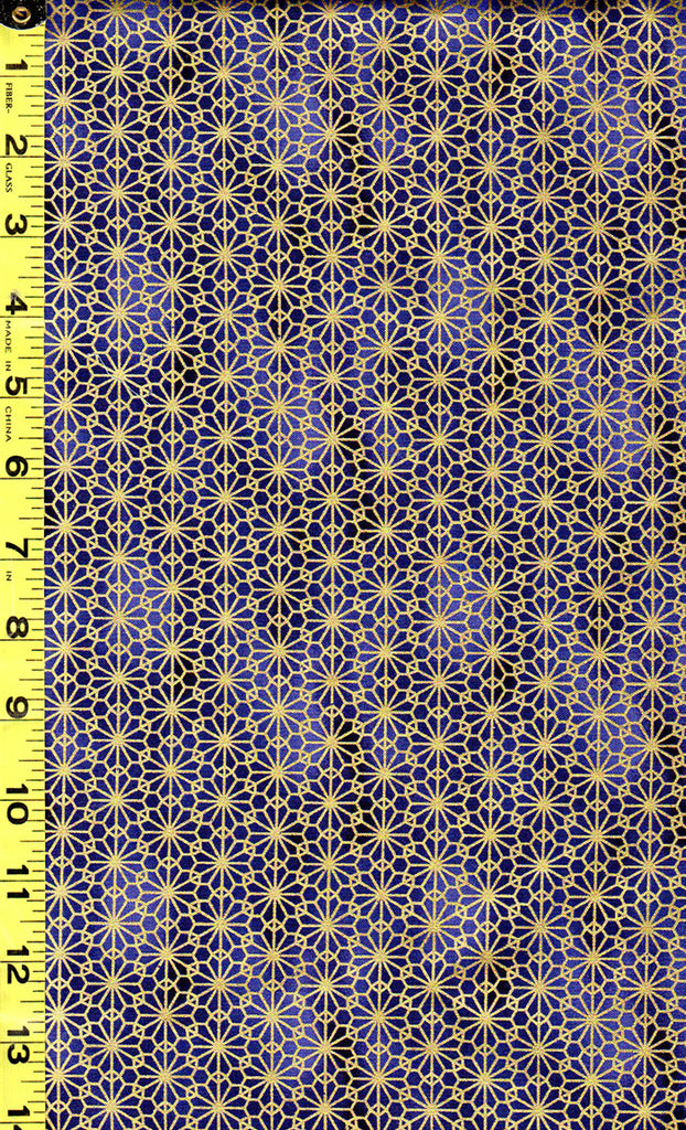 Quilt Gate - Suzune Gold Metallic Stylized Flower - HR3340-16D - Royal Blue