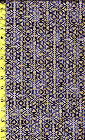 *Quilt Gate - Suzune Gold Metallic Stylized Flower - HR3340-16D - Royal Blue