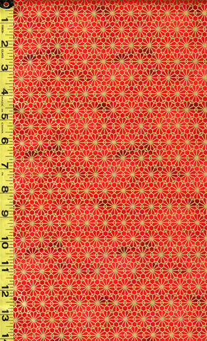 *Quilt Gate - Suzune Gold Metallic Stylized Flower - HR3340-16B - Red
