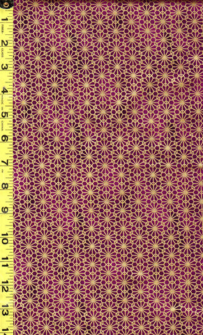 *Quilt Gate - Suzune Gold Metallic Stylized Flower - HR3340-16E - Magenta/ Grape