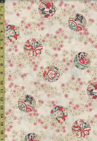 *Quilt Gate - Suzune Small Cherry Blossom Clusters and Temari Balls - HR3340-15A - Cream