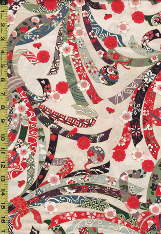 *Quilt Gate - Suzune Large Colorful Noshi Ribbons - HR3340-11A - Cream