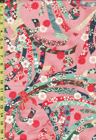 *Quilt Gate - Suzune Large Colorful Noshi Ribbons - HR3340-11B - Pink