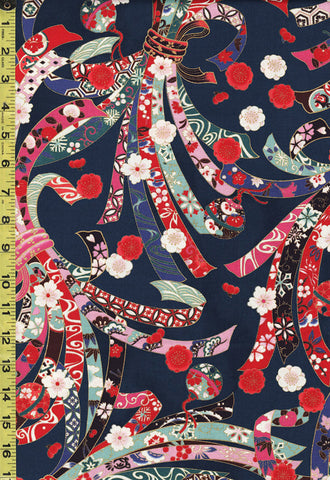 *Quilt Gate - Suzune Large Colorful Noshi Ribbons - HR3340-11D - Navy